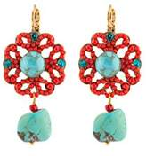 "Satellite Women's ""Stromboli"" Gold Plated Brass Red Flora Turquoise Center Drop Earrings"