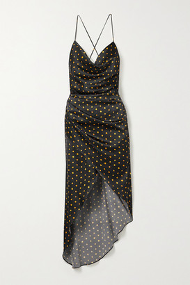 HANEY Holly Open-back Draped Polka-dot Stretch-silk Satin Dress - Black