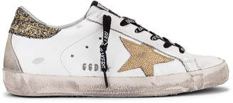 Golden Goose Superstar Sneaker in White, Cocco Glitter & Gold | FWRD