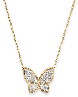 Roberto Coin 18K Yellow Gold Diamond Butterfly Pendant Necklace, 16