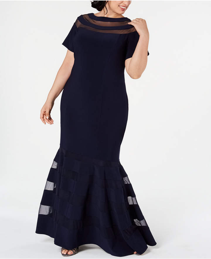 Plus Size Illusion-Panel Gown