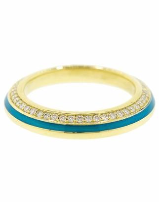 Andy Lif Light Blue Enamel and Diamond Ring