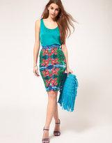 ASOS Pencil Skirt In Mirrored Tropical Print