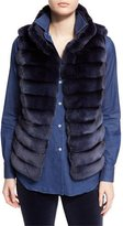 Loro Piana Jayden Horizontal-Stripe Chinchilla Vest, Ocean Waves Navy