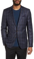 Sand Men's Trim Fit Plaid Wool Sport Coat