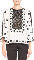 Andrew Gn Two-Tone Lace Crepe Blouse
