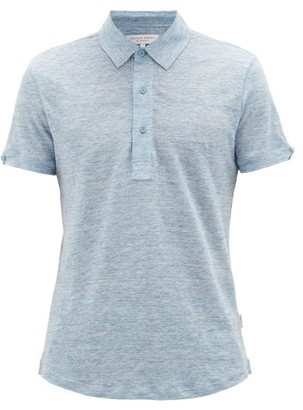 Orlebar Brown Sebastian Slubbed-linen Polo Shirt - Light Blue