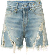 R 13 distressed denim shorts