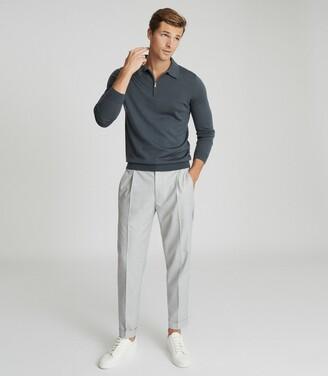 Reiss Robertson - Merino Wool Zip Neck Polo Shirt in Pewter