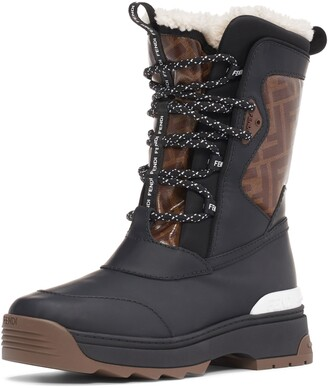 Fendi Genuine Shearling Lined Weather Resistant Ski Boot