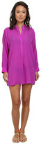 Echo Solid Silky Shirt Dress Cover-Up