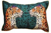 Jessica Russell Flint Hopsack Long Cushion Cover - Staring Leopards