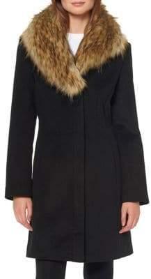 Ellen Tracy Faux Fur Shawl Collar Walker Coat