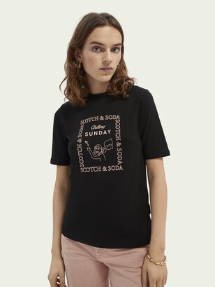 Scotch /& Soda V-Neck tee with Woven Front Panel and Bindings Camiseta para Mujer