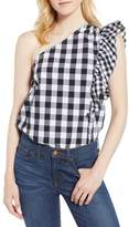 J.Crew J. CREW Maybe One-Shoulder Mix Gingham Top