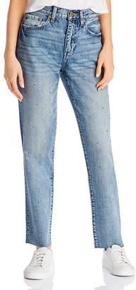 Pistola Denim Presley High-Rise Studded Straight-Leg Jeans in Rocksteady Blue