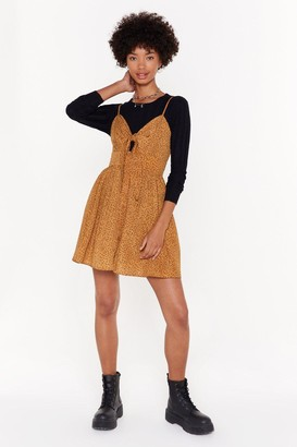 Nasty Gal Womens Love Doesn't Ask Tie Button-Down Mini Dress - Brown - 12