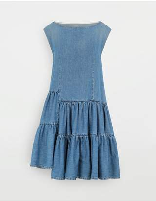 MM6 MAISON MARGIELA Asymmetric Ruffle Denim Dress