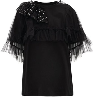 Simone Rocha Puff-sleeve Tulle-cape Cotton T-shirt - Womens - Black