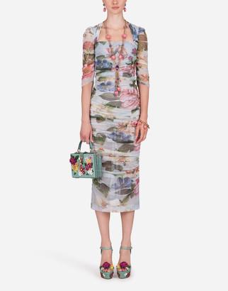 Dolce & Gabbana Floral-Print Tulle Midi Dress