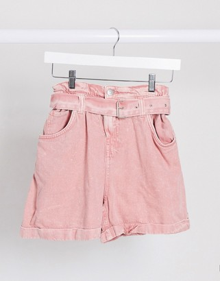 Bershka paperbag belted denim shorts in washed pink
