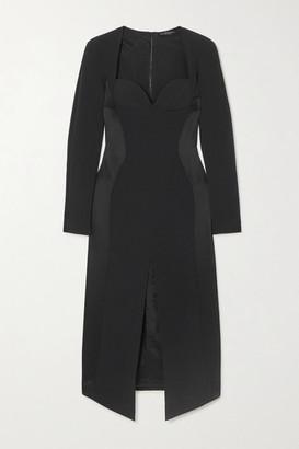 David Koma Embellished Crepe And Satin Midi Dress - Black