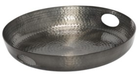 """Honey-Can-Do 16"""" Hammered Round Serving Tray With Handles"""