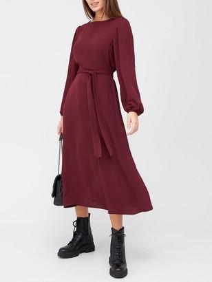 Very Blouson Sleeve Tie Waist Midi Dress - Wine