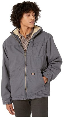 Dickies Sanded Duck Sherpa Lined Hooded Jacket (Charcoal) Men's Coat