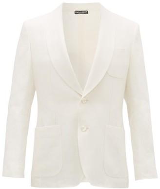 Dolce & Gabbana Slubbed-linen Oxford Tuxedo Jacket - White