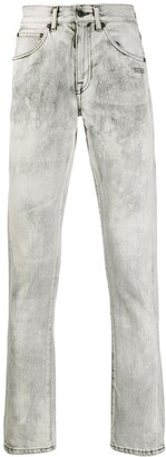 Off-White Acid-Wash Printed-Logo Jeans