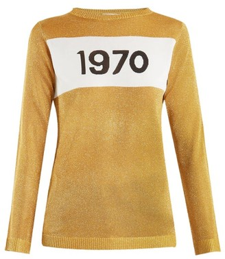 Bella Freud 1970-intarsia Metallic Sweater - Womens - Gold