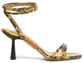 Aquazzura Isabel 75 Python-effect Leather Sandals - Womens - Black Yellow