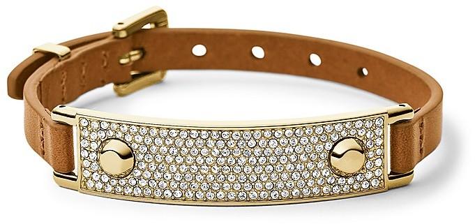 Michael Kors Pavé Plaque Leather Bracelet
