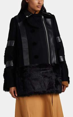 Sacai Women's Mixed-Media Military Coat - Black