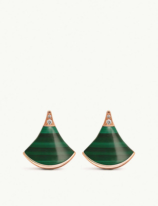 Bvlgari Divas Dream 18ct rose-gold malachite and diamond earrings