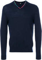 Paul Smith multicolour trim V-neck sweater - men - Nylon/Spandex/Elastane/Merino - S