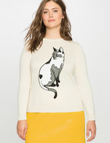 ELOQUII Plus Size Cat Intarsia Sweater