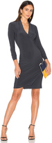 Norma Kamali Long Sleeve Modern Side Drape Dress