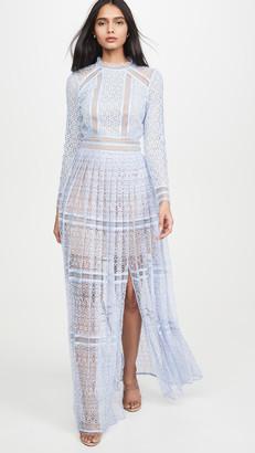 Self-Portrait Lace Panel Maxi Dress