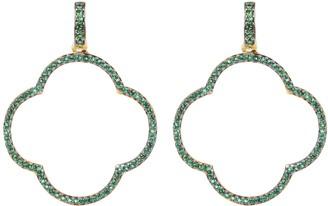 Large Open Clover Drop Earrings Green Gold