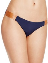 Vix Leather-Accent Bikini Bottom
