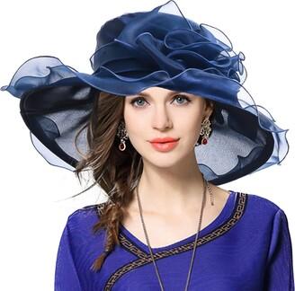VECRY Women's Organza Church Derby Fascinator Bridal Wedding Hat (Purple)