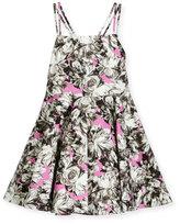 Milly Minis Double-Strap Stretch Jersey Peony Dress, Pink, Size 4-7