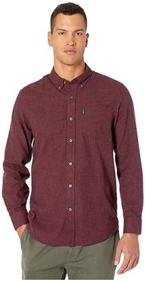 Ben Sherman Long Sleeve Brushed Dogtooth Shirt (Wine) Men's Clothing