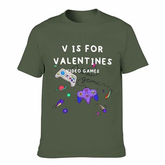 Twelve Constellations Men's cotton T-shirt V is for Valentine's Day video games cool individuality durable - printed short sleeves. - Green - XXXX-Large