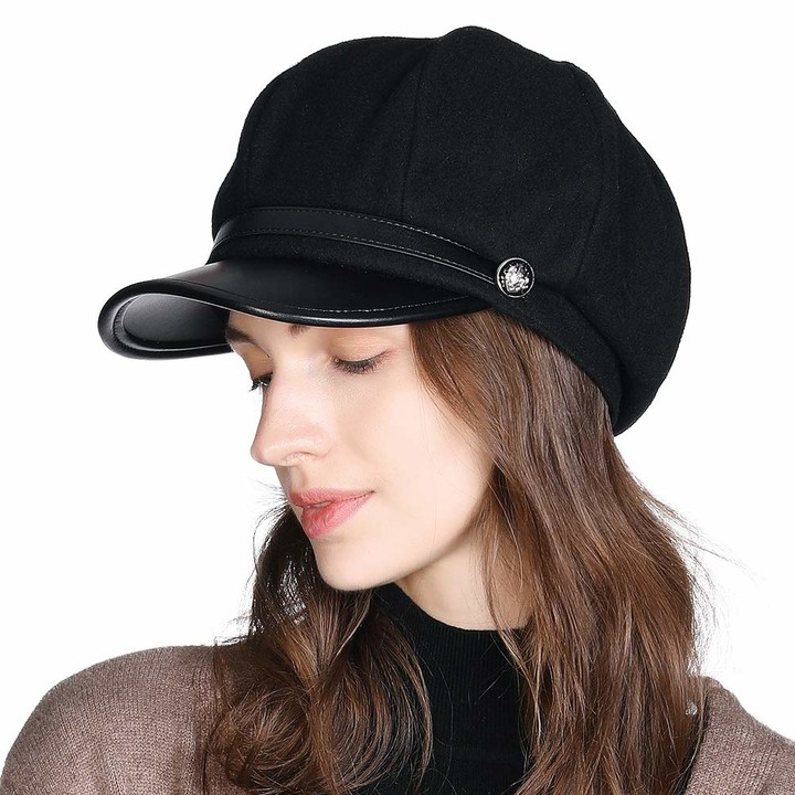 Newsboy Caps for Women Black PU Leather Visor Beret Cabbie Hat Peaked Baker Boy Cap