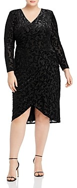 Adrianna Papell Plus Metallic-Velvet-Burnout Faux-Wrap Dress