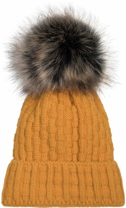 styleBREAKER Unisex Knit Pompom hat with Woven Pattern and Thermo Fleece Lining Winter Fur Bobble hat Fake Fur Made in Poland 04024171
