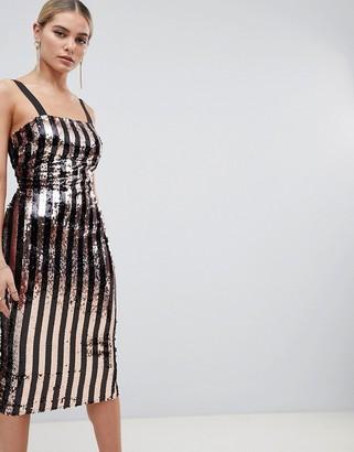 Outrageous Fortune sequin cami midi dress in multi stripe